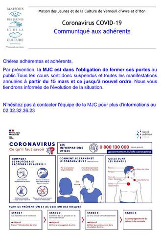 Coronavirus - Communiqué aux adhérents