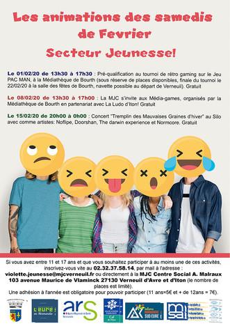 Programme des Samedis de Février sur le Secteur Jeunesse de la MJC