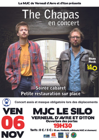 Concert du duo blues rock The Chapas au Silo le vendredi 06 novembre