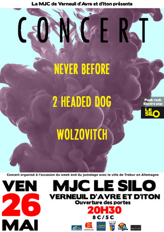 Wolzovitch + 2 Headed Dog + Never Before Vendredi 26 mai – 20H30