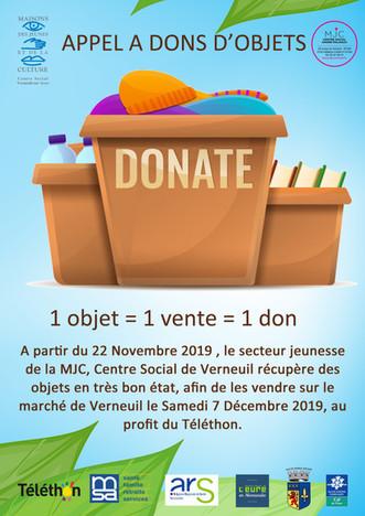 Appel à don d'objets au profit du Téléthon