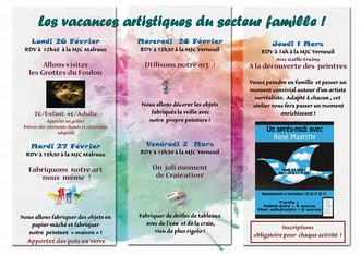 Le programmes des activités en famille pour les vacances de février