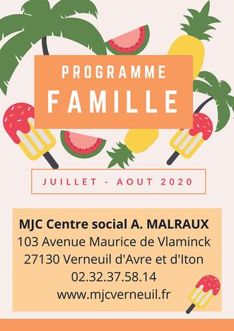 Programme d'activités du Secteur Familles pour les vacances d'été