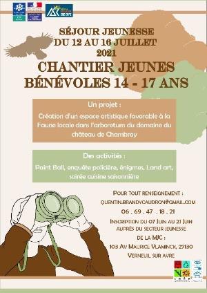 Un Chantier Jeunes Bénévoles du 12 au 16 juillet pour les ados de la MJC