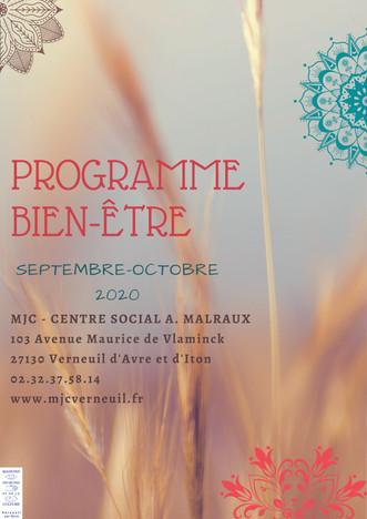 Programme bien-être du Secteur Famille pour septembre et octobre 2020