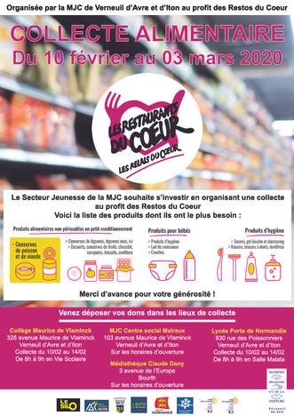 La MJC organise une collecte au profit des Restos du Cœur du 10 février au 03 mars