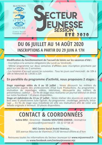 Programme d'activités du Secteur Jeunesse pour l'été 2020