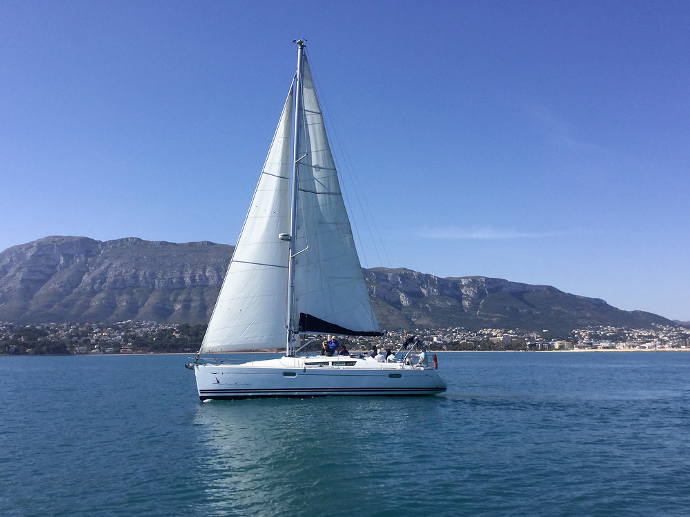After the TOM28's we take the somewhat large yacht out for a day's sail from Denia.