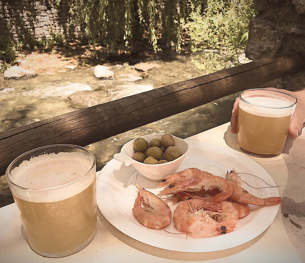 Caña with Prawn Tapas on the bank of the Rio Genil in Pinos Genil, Granada