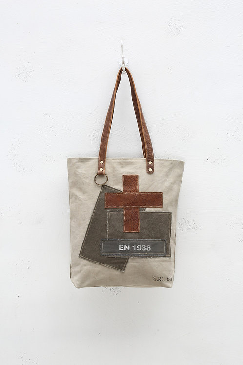 MYRA PATCHED OVER CANVAS TOTE BAG
