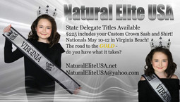 Natural Elite USA Nationals!Appointed State Delegate Titles Available in your State! ALL Ages 0 to C