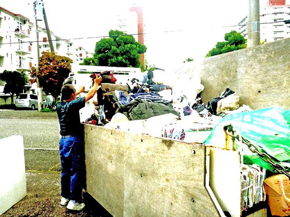 ふじさわしげんくみあいの集積所・新聞紙、古布回収