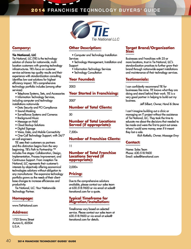 Tie National Mentioned In The 2014 Technology Buyers' Guide