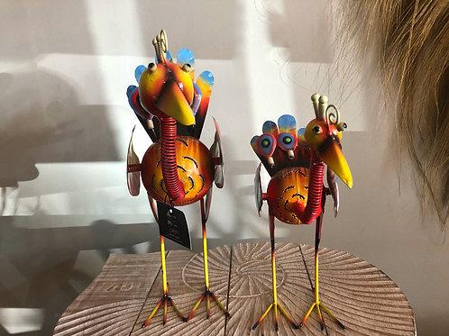 Oiseau en métal coloré