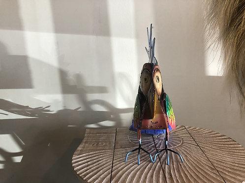 Perroquet photophore en métal coloré