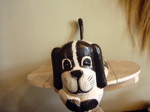 Gamelle double chien en bois d'Albizia