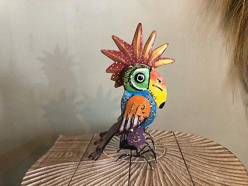 Perroquet en métal coloré
