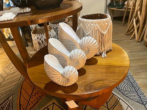 Set de 3 coquillages en bois
