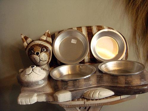 Gamelle chat en bois d'Albizia