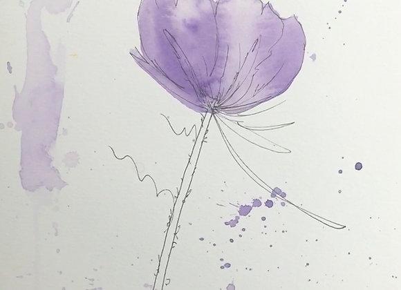 Purple Flower with Splatter