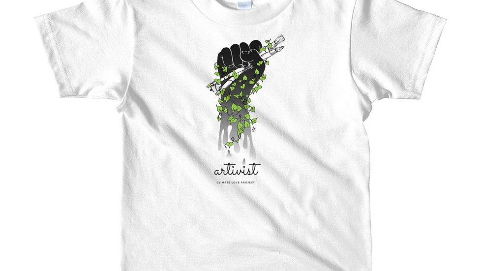 Artivist kids tee shirt front view
