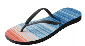flip flop shoe with red and blue stripes showing the earth getting hotter