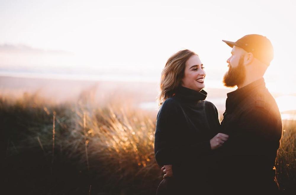 Couple enjoying oregon coast