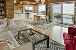 Oceanfront Modern Cabin Living And Dining Area