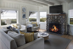 Oceanfront Bungalow Living Area With Log Fire