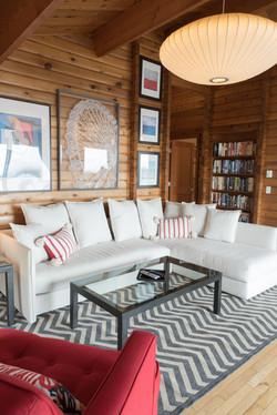 Oceanfront Modern Cabin Living Area