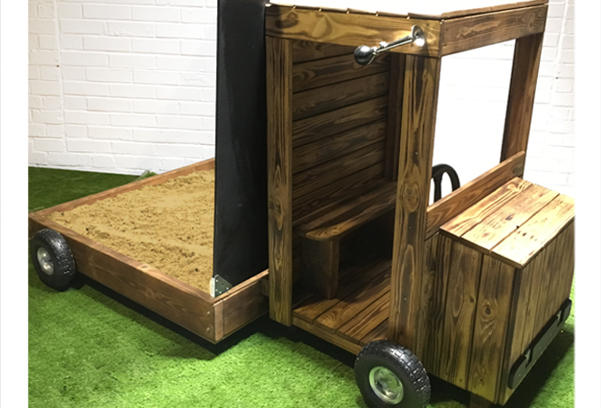 Truck role play sand pit with lid for child's garden in Sussex