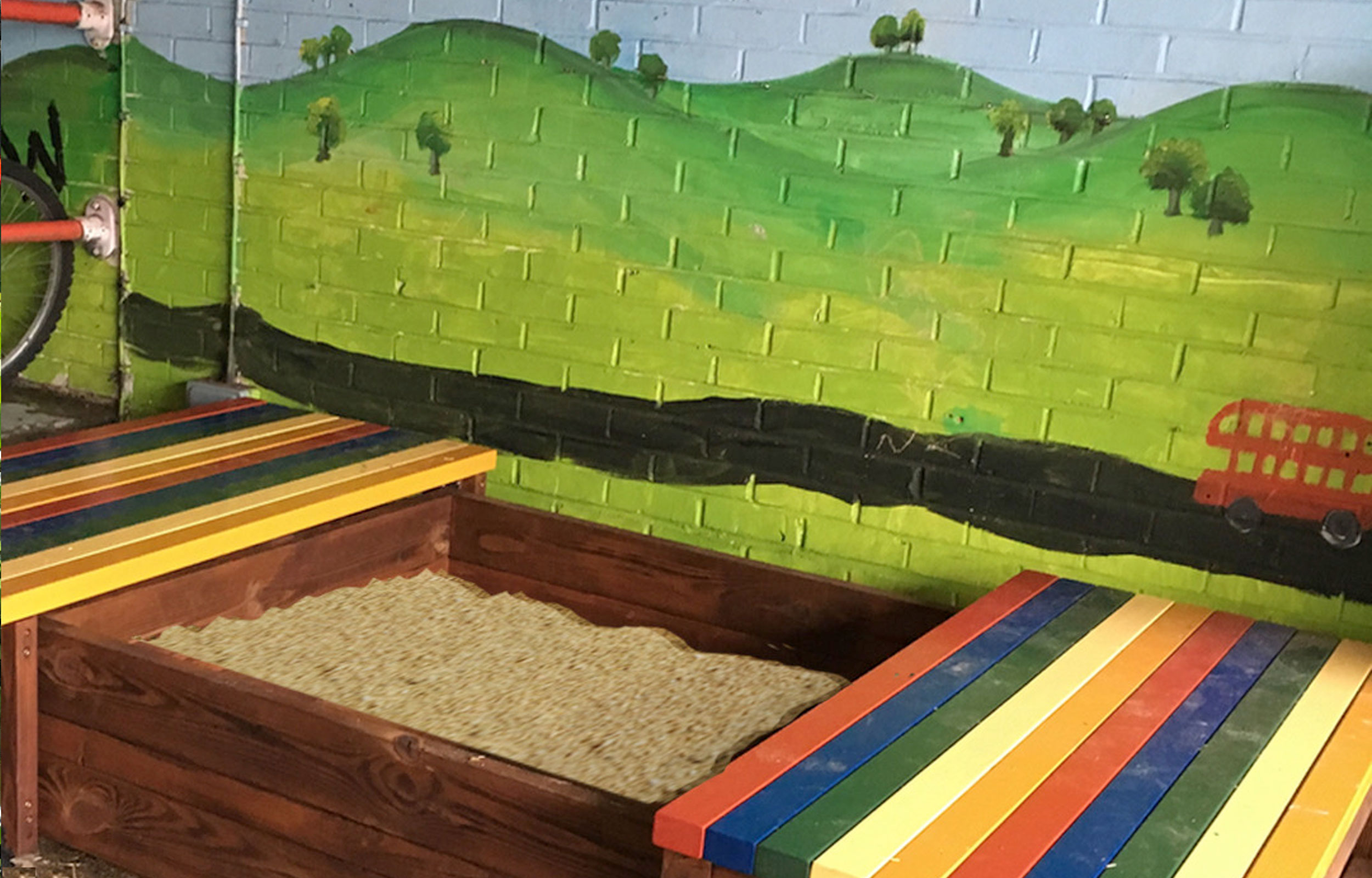 Seating platform boxed wooden sandpit