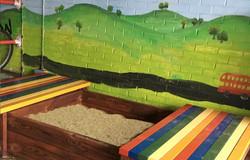 Seating platform boxed wooden sandpit