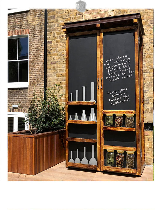 Outdoor wooden storage cupboard and larg
