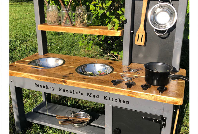 Mud Kitchen decking oil frame 2 bowl, oven, hob, different bench finishes