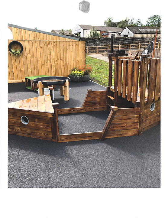 Outdoor wooden role play pirate boat cli