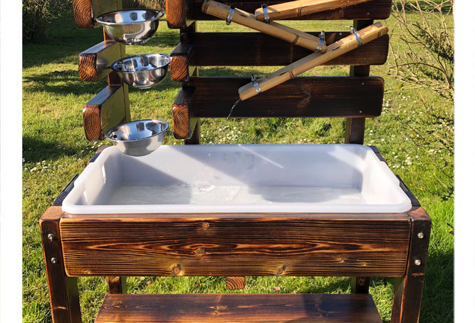 Water Play Table with Cascading Water Bowls & Hand Pouring Waterfall