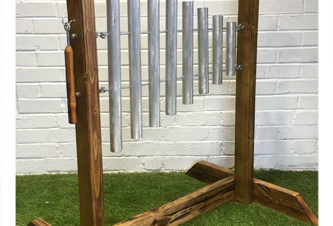 Chime pipe music frame for special needs sensory garden