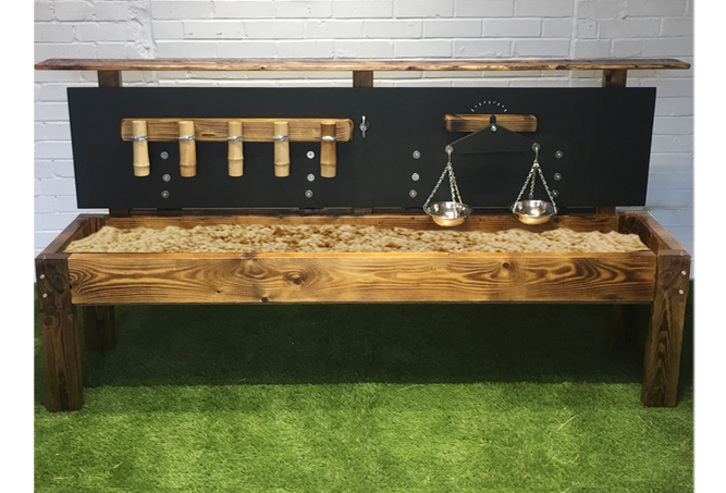 Sand table with chalkboard lid, scales & bamboo flowing