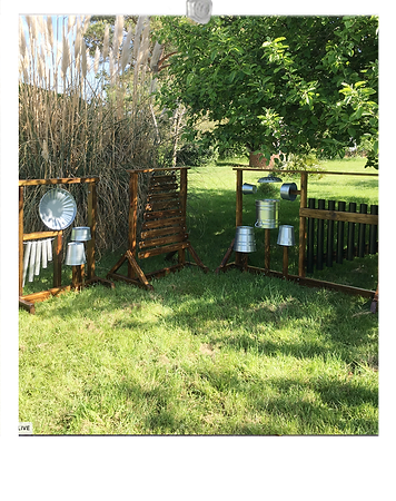 Outdoor music frame with drums , plastic pipe chime, wooden glockenspiel, pipe chime for eary years, sensory learning equipment special needs learning.