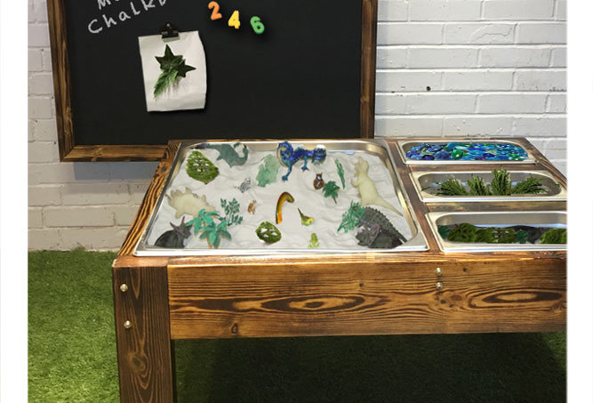 Sand play therapy table for special needs child sensory garden in Buckinghamshire