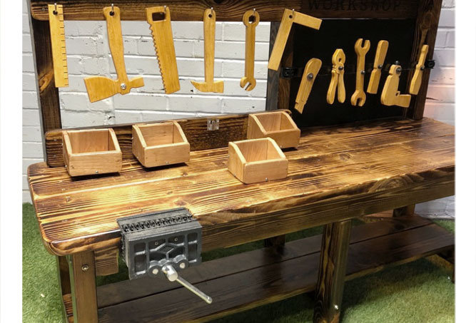 Kids workshop bench, vice, tools included