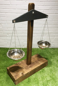 Giant wooden outdoor play scales