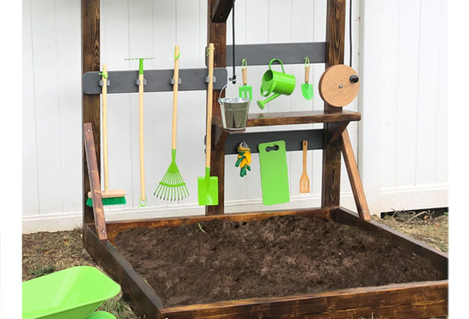 Mud Pit frame & pulley bucket play shelf with hanging tool set & wheel barrow