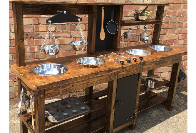 Age 6-8 mud kitchen for role play cooking with scales in beautiful eco child friendly finish