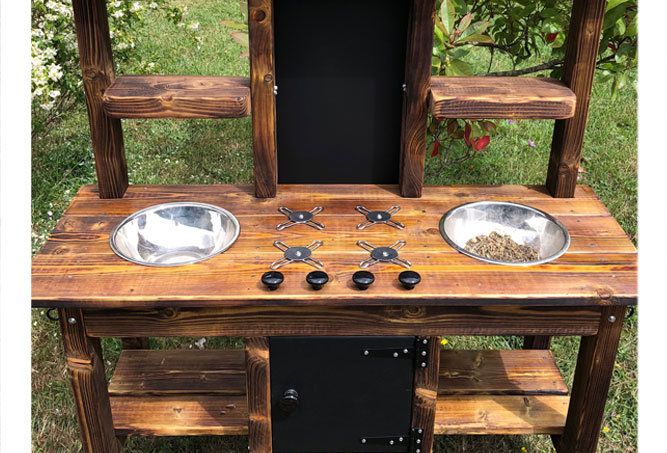 Mud Kitchen 2 Bowl, Hob, Oven, Decking Oil Finish