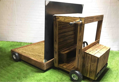 Outdoors kids wooden truck sand pit with chalkboard lid and chute