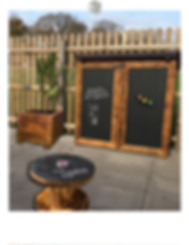 Outdoor wooden storage cupboards, art play tables, planters bespoke personalised to suit your space.