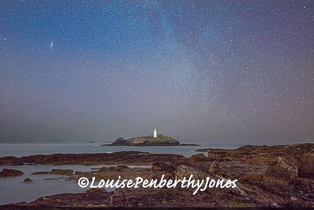 Stars over Godrevy Lighthouse