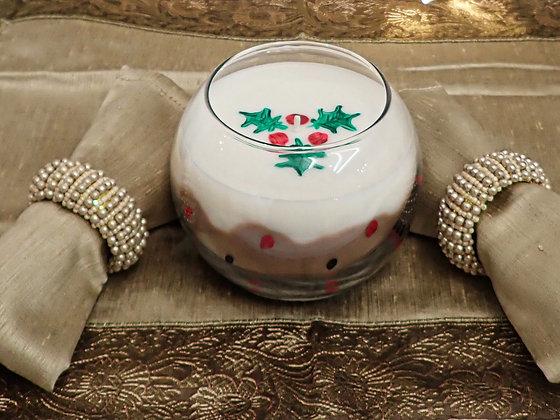 Christmas Pudding - Large bubble glass candle